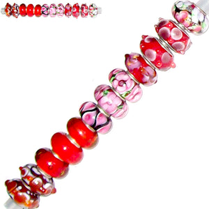 12 European lampwork glass, metal &/or acrylic beads large ~4-5mm big holes | set #25d_red1