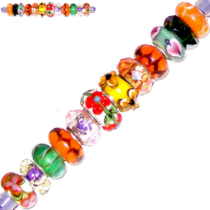 12 European lampwork glass, metal &/or acrylic beads large ~4-5mm big holes | set #4_25g-grn1