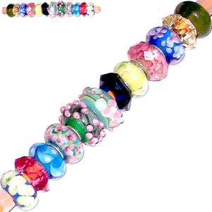 12 European lampwork glass, metal &/or acrylic beads large ~4-5mm big holes | set #4_25g-mix2