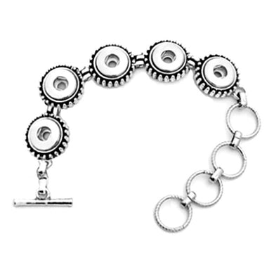 Snap button bracelet base 12mm antique silver smooth metal finding toggle clasp