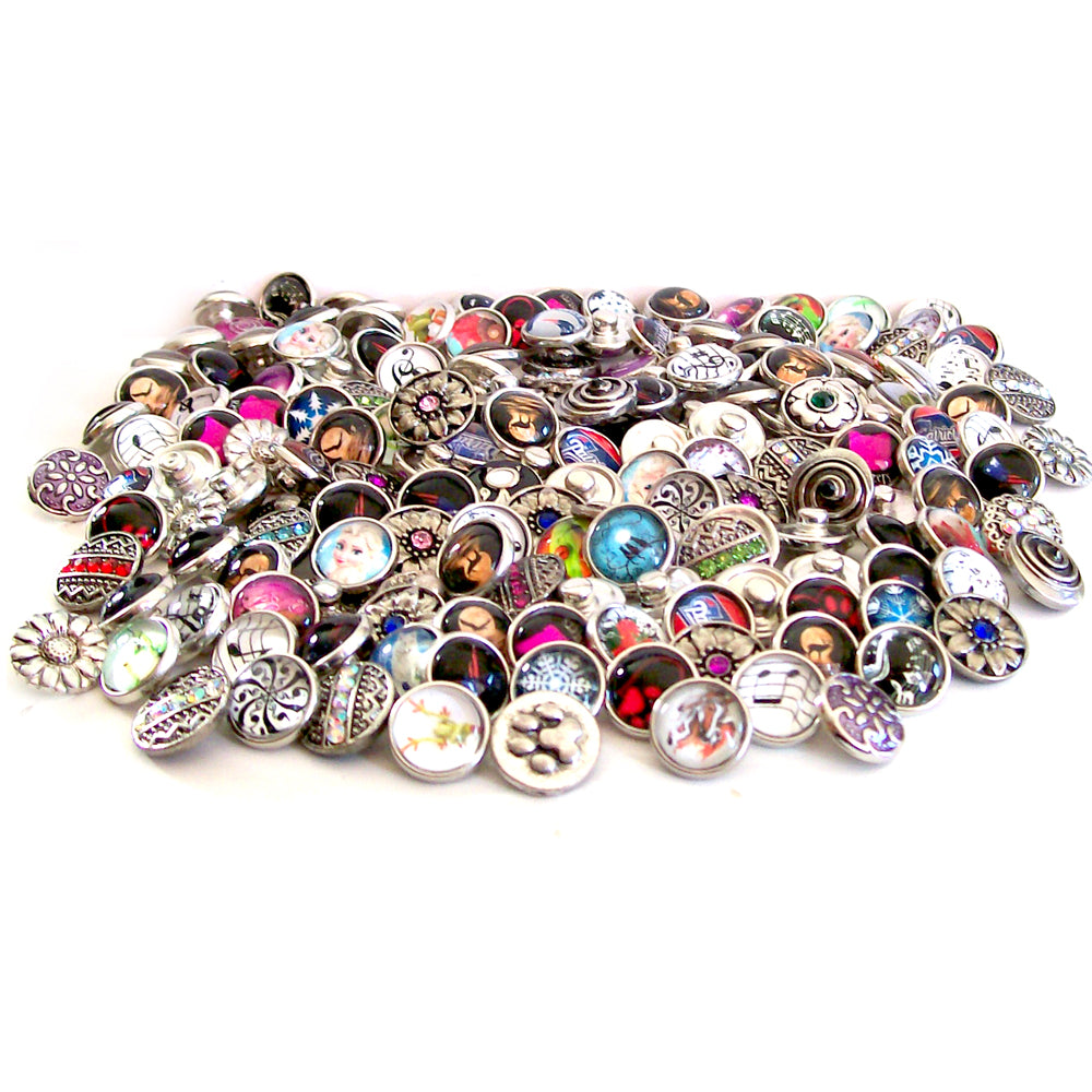 Snap Buttons 12mm metal, crystals & limited glass round ginger U PICK quantity