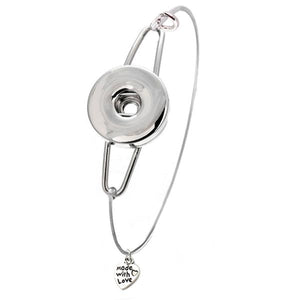 "Snap button bangle bracelet heart dangle ""made with love"" base metal 18mm round silver blank finding"