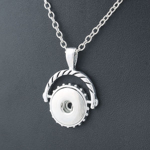 Snap button necklace fancy pendant base 18mm silver finding chain