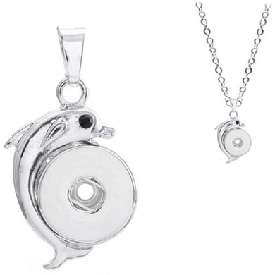 Snap button necklace Dolphin pendant base 18mm silver finding chain