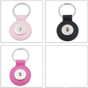 Snap button key ring base 18mm round silver metal leather finding U PICK color