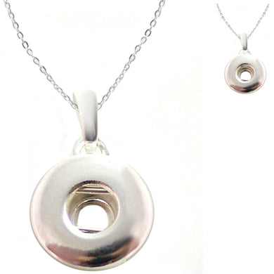 Snap button necklace pendant base 18mm round silver metal finding chain