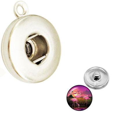 Snap button pendant base 18mm round silver metal finding single loop