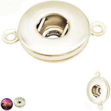 Load image into Gallery viewer, Snap button base 18mm round silver metal finding double loops