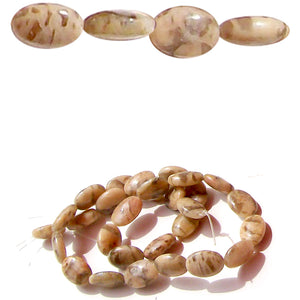 Semi-precious Graphic Feldspar ~14x10mm oval genuine natural center-drilled stone - 4 beads