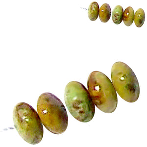 Rare Gaspeite Australian rondelle ~7.5-8mm hand-cut genuine natural green brown stone set #8 -5 beads