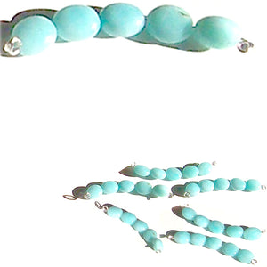Rare Amazonite Peru oval 9x6mm Blue hand-cut smooth stone - 5 beads