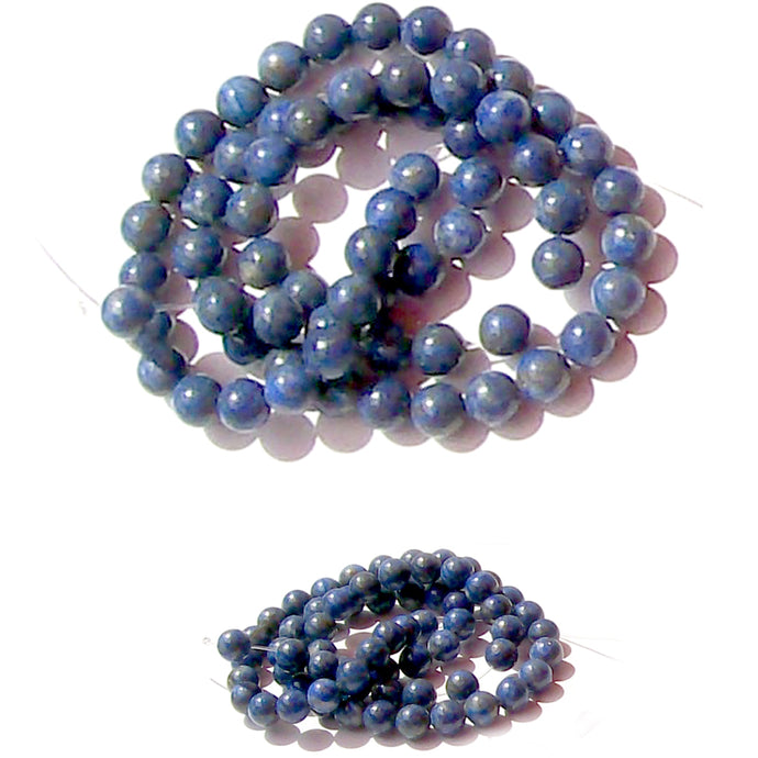 Semi-precious Denim Lapis ~5m round blue genuine natural center-drilled stone - 5 beads
