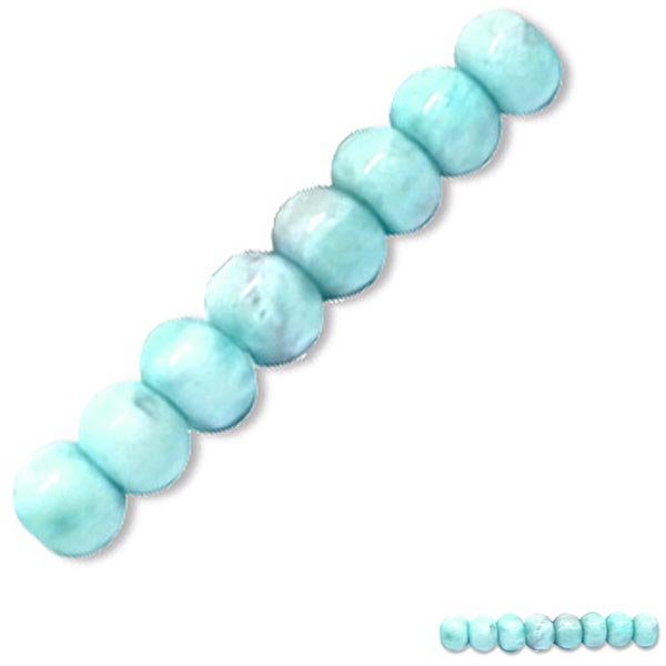 Rare Larimar 8 Dominican Republic ~6mm Caribbean blue white stone rondelle beads