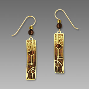 Artisan earrings ADAJIO 14kgf vertical brown tan base lines overlay dangles