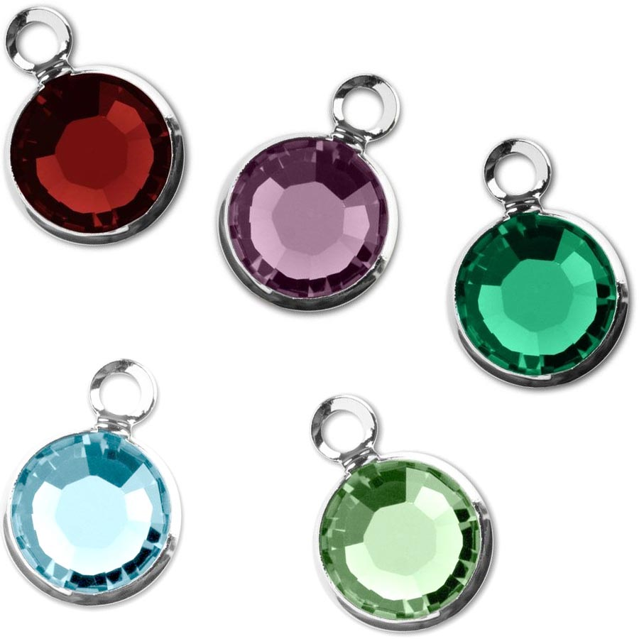 Finding:  Swarovski 9.5x6.5mm rhodium-plated 6mm crystal channel set drop dangle