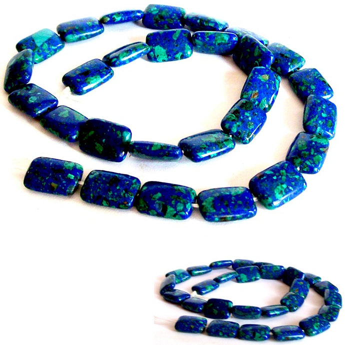 Rare Azurite-Malachite rectangle 12x8mm blue green stone - 2 beads