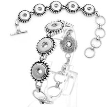 Load image into Gallery viewer, Snap button bracelet base 12mm antique silver smooth metal finding toggle clasp