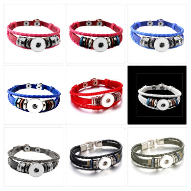 Snap button bracelet base 18mm round PU Leather silver finding U PICK color