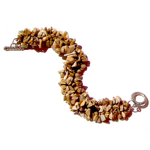 Artisan stone chip beads bracelet Picture Jasper weaved strung silver metal toggle bracelet