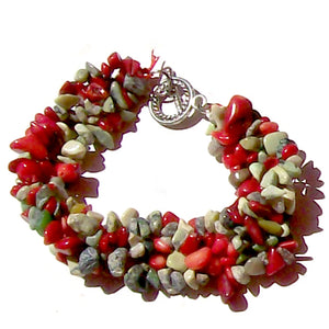 Artisan stone chip beads bracelet yellow turquoise jasper red coral & serpetine weaved strung silver metal toggle bracelet