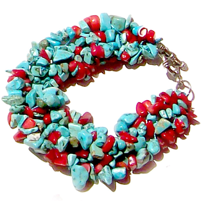 Artisan stone chip beads bracelet Turquoise Blue stabilized Red Coral weaved strung silver metal toggle bracelet