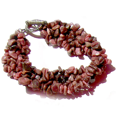 Artisan stone chip beads bracelet Rhodonite weaved strung silver metal toggle bracelet