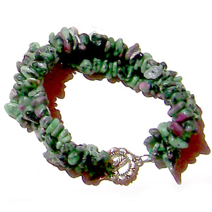 Artisan stone chip beads bracelet Ruby in Zoisite weaved strung silver metal toggle bracelet