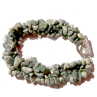 Artisan stone chip beads bracelet Serpentine weaved strung silver metal toggle bracelet