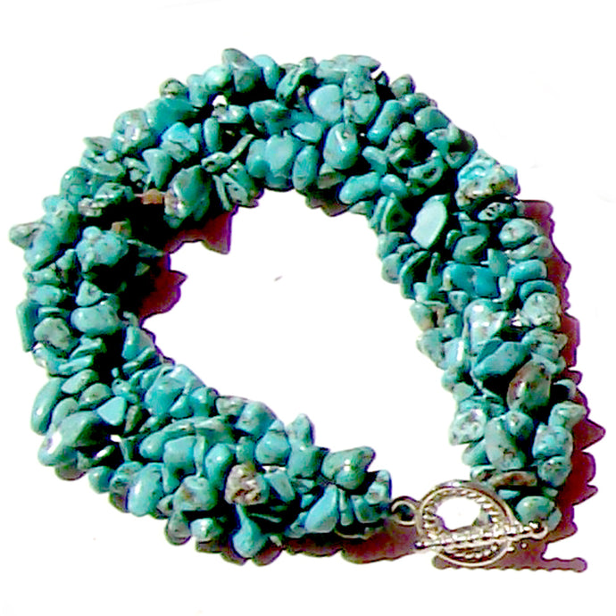 Artisan stone chip beads bracelet Turquoise Blue stabilized weaved strung silver metal toggle bracelet