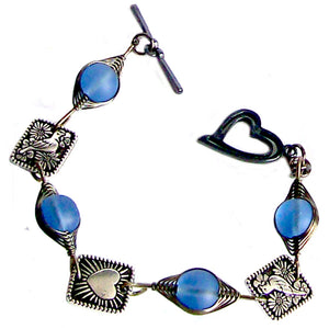 Artisan bracelet gun metal cultured SEA GLASS wire-wrapped 10mm round, 8x8mm square pewter flat detailed beads & heart toggle clasp - sapphire
