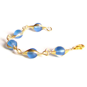 Artisan bracelet gold cultured SEA GLASS wire-wrapped non-tarnish 10mm round beads & toggle clasp - sapphire