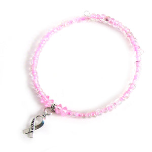 Artisan Memory Wire BREAST CANCER AWARENESS Bracelet, Hope Ribbon dangle, glass seed 6/0 beads