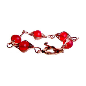 Artisan bracelet antiqued copper cultured SEA GLASS wire-wrapped non-tarnish 10mm round beads & toggle clasp - red