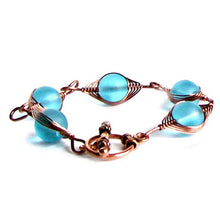 Load image into Gallery viewer, Artisan bracelet antiqued copper cultured SEA GLASS wire-wrapped non-tarnish 10mm round beads & toggle clasp - blue