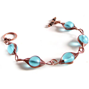 Artisan bracelet antiqued copper cultured SEA GLASS wire-wrapped non-tarnish 10mm round beads & toggle clasp - blue