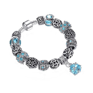European-style bracelet add a bead 23cm silver-plated charm large hole beads chain clasp