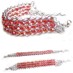 "Fashion bracelet ~4-3/4 x 3/8"" of Red AB crystals beads ~2-3/8"" silver metal links lobster clasp plus 1-1/2"" extender"