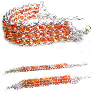 "Fashion bracelet ginger ~4-1/2 x 3/8"" of crystals beads ~2-1/4"" silver metal links lobster clasp plus 1-1/4"" extender"