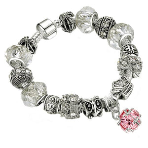 European-style bracelet add a bead 17cm silver charm large hole beads chain clasp