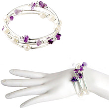 Load image into Gallery viewer, Memory wire bracelet Amethyst chip stone faux pearl beads 18mm SNAP button base dangle bracelet