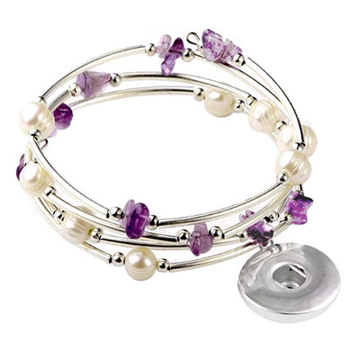 Memory wire bracelet Amethyst chip stone faux pearl beads 18mm SNAP button base dangle bracelet