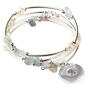Snap button bracelet base dangle memory wire Fluorite chip stone faux pearl beads 18mm