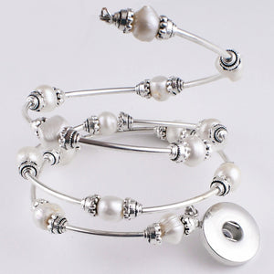 Memory wire bracelet PEARLs 18mm SNAP button base dangle wrap around