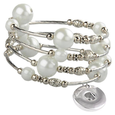 Memory wire bracelet large PEARLs 18mm SNAP button base dangle bracelet