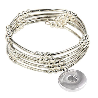 Snap button bracelet base dangle 18mm Memory wire round silver beads