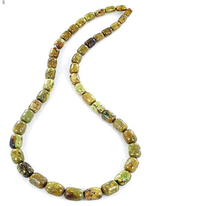 Rare Gaspeite Australian barrel ~9-6-7mm hand-cut genuine natural green brown stone st1 set #7 - 4 beads