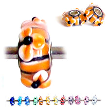 Load image into Gallery viewer, European 1 silver Lampwork Glass & silver raised FLOWER ORANGE floral large hole bead