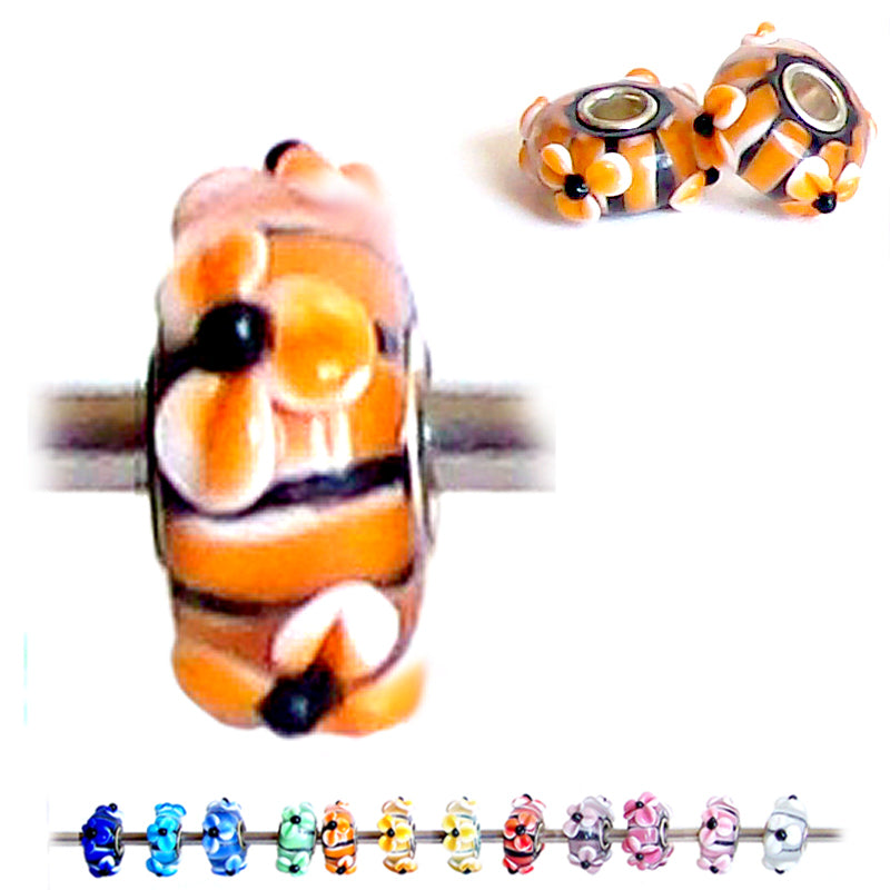 European 1 silver Lampwork Glass & silver raised FLOWER ORANGE floral large hole bead