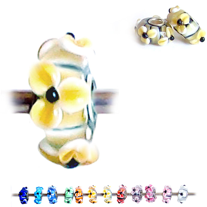 European 1 silver Lampwork Glass & silver raised FLOWER YELLOW light floral large hole bead