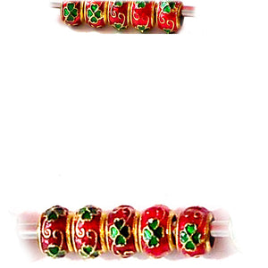 European 1 gold metal red green enamel holiday-theme colors spacer bead
